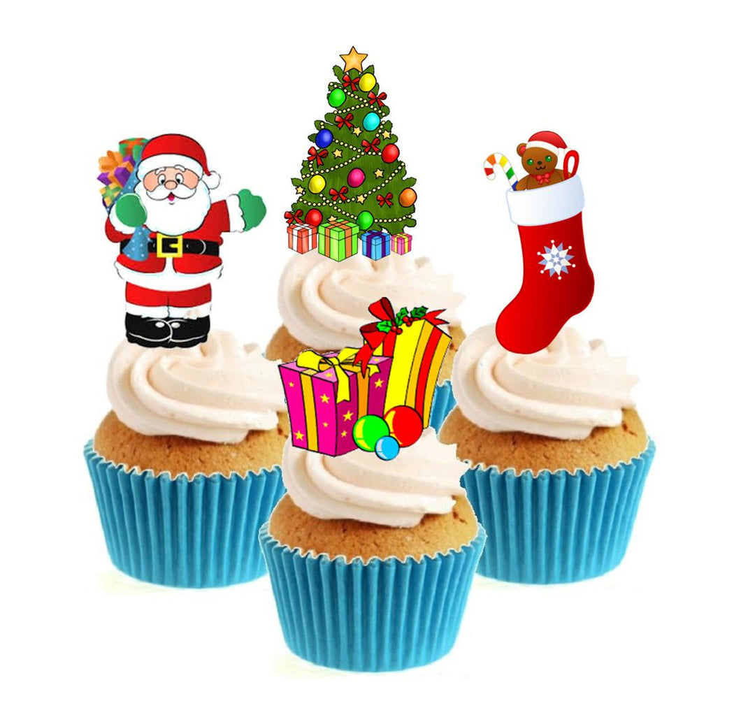 Fun Christmas Collection Stand Up Cake Toppers (12 pack)  Pack contains 12 images - 3 of each image - printed onto premium wafer card