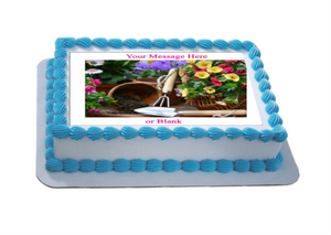 Personalised Gardening Scene (A) A4 Icing Sheet Topper