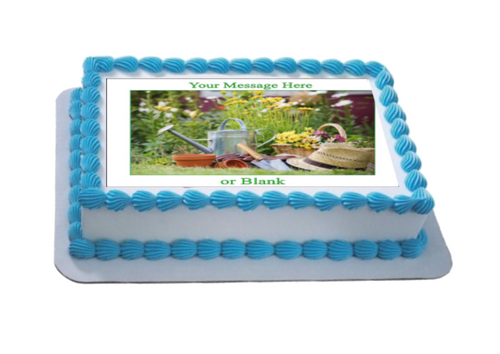 Personalised Gardening Scene (B) A4 Icing Sheet Topper