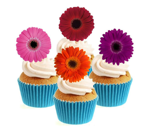 Gerbera Collection Stand Up Cake Toppers (12 pack)  Pack contains 12 images ~ 3 of each image ~ printed onto premium wafer card