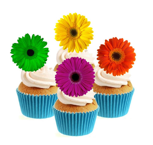 Bright Gerbera Collection Stand Up Cake Toppers (12 pack)  Pack contains 12 images ~ 3 of each image ~ printed onto premium wafer card