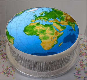 "Globe 8"" Icing Sheet Cake Topper  Icing sheet cake toppers are a great way to personalise either a homemade or shop bought plain cake  Easy Peel Icing Sheet - No Fuss - Ready to pop straight onto your cake (full instructions included)"