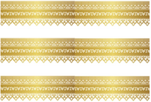 Load image into Gallery viewer, GOLD TRIM EDIBLE ICING CAKE RIBBON / SIDE STRIPS  Use instead of traditional ribbon to decorate the sides of your cakes  Edible fondant icing, perfect for that special occasion