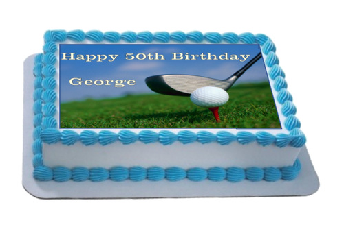 Personalised Golf Scene A4 Icing Sheet Topper
