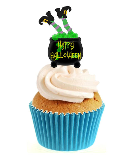 Green Witch In Cauldron Stand Up Cake Toppers (12 pack)  Pack contains 12 images printed onto premium wafer card