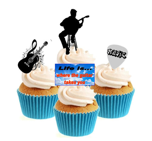 Guitarist Collection Stand Up Cake Toppers (12 pack)  Pack contains 12 images ~ 3 of each image ~ printed onto premium wafer card