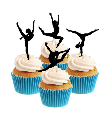Gymnast Silhouette Collection Stand Up Cake Toppers (12 pack)