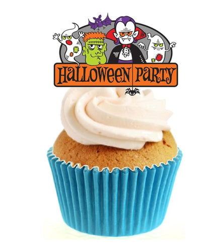 Halloween Party Characters Stand Up Cake Toppers (12 pack)  Pack contains 12 images printed onto premium wafer card