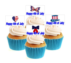Happy 4th July Collection Stand Up Cake Toppers (12 pack)  Pack contains 12 images - 3 of each image - printed onto premium wafer card