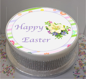 "Easter Flowers 8"" Icing Sheet Cake Topper"