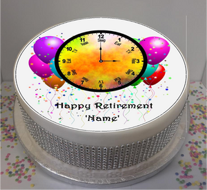 "Personalised Retirement Clock 8"" Icing Sheet Cake Topper"