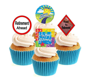 Happy Retirement Collection Stand Up Cake Toppers (12 pack)  Pack contains 12 images - 3 of each image - printed onto premium wafer card