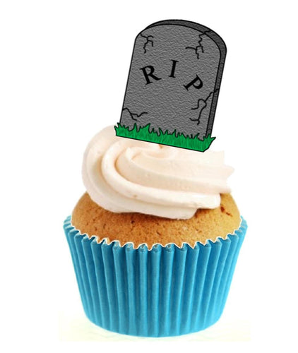 Headstone RIP Stand Up Cake Toppers (12 pack)