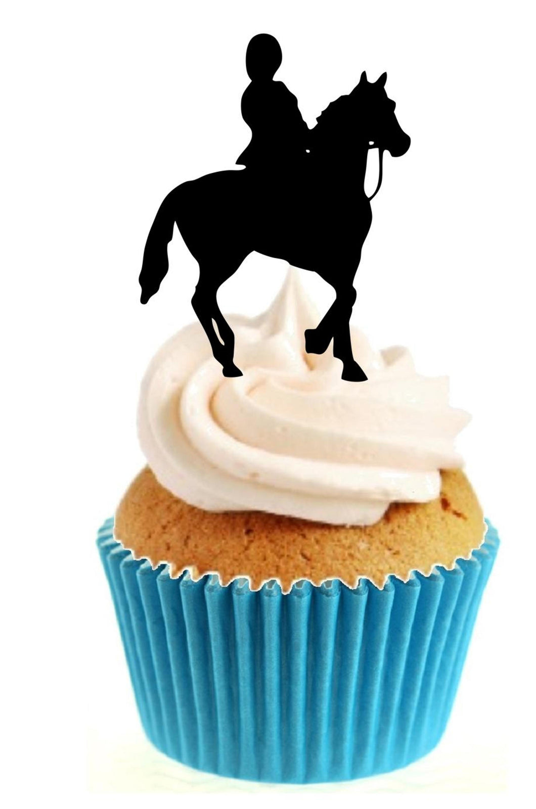 Horse Riding Silhouette Stand Up Cake Toppers (12 pack)