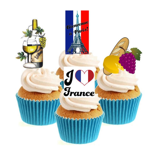 I Love France Collection Stand Up Cake Toppers (12 pack)