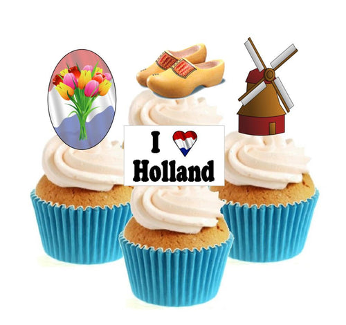 I Love Holland Collection Stand Up Cake Toppers (12 pack)