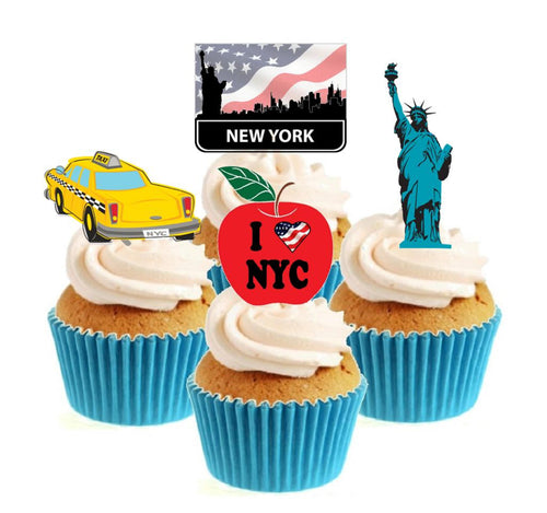 I Love New York Collection Stand Up Cake Toppers (12 pack)