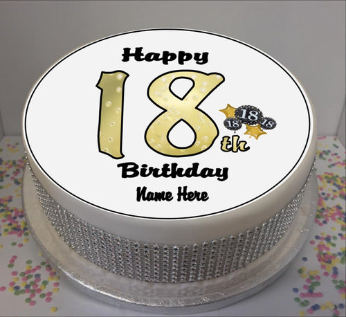 Personalised 18th Birthday Black / Gold 8