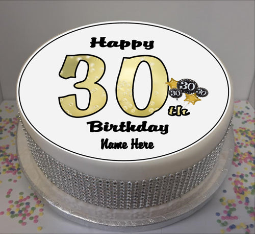 Personalised 30th Birthday Black / Gold 8
