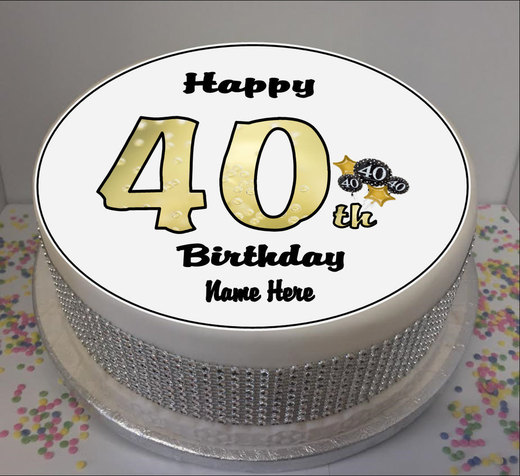 Personalised 40th Birthday Black / Gold 8