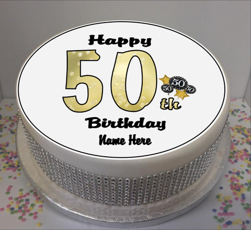 Personalised 50th Birthday Black / Gold 8