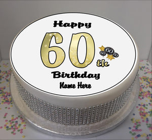 "Personalised 60th Birthday Black / Gold 8"" Icing Sheet Cake Topper"