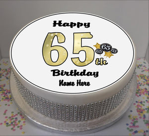 "Personalised 65th Birthday Black / Gold 8"" Icing Sheet Cake Topper"