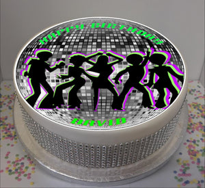 "Personalised 70s Party Silhouettes 8"" Icing Sheet Cake Topper"