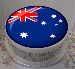 "Australian Flag 8"" Icing Sheet Cake Topper   Icing sheet cake toppers are a great way to personalise either a homemade or shop bought plain cake  Easy Peel Icing Sheet - No Fuss - Ready to pop straight onto your cake (full instructions included)"
