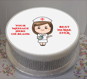 "Personalised Best Nurse Scene 8"" Icing Sheet Cake Topper"