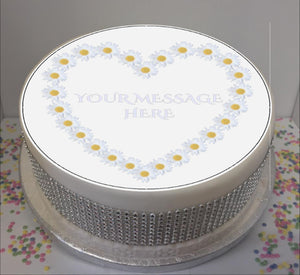 "Personalised Daisy Heart Scene 8"" Icing Sheet Cake Topper"