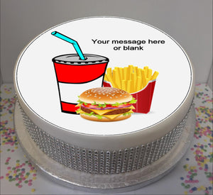 "Personalised Fast Food Scene 8"" Icing Sheet Cake Topper"