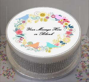 "Personalised Flowers & Birds Scene 8"" Icing Sheet Cake Topper"