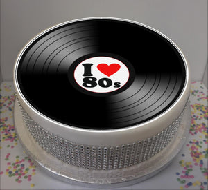 "I Love 80s Vinyl  8"" Icing Sheet Cake Topper"