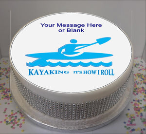 "Personalised Kayaking Silhouette & Quote Scene 8"" Icing Sheet Cake Topper"