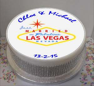 "Personalised Just Married in Vegas 8"" Icing Sheet Cake Topper"