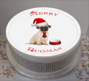 "Personalised Merry Pugmas Scene 8"" Icing Sheet Cake Topper"