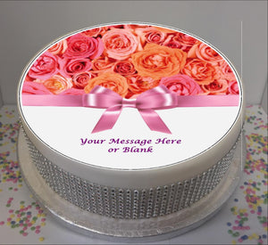 "Personalised Pink / Peach Roses & Bow Scene 8"" Icing Sheet Cake Topper"
