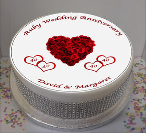 "Personalised Ruby Wedding Anniversary 8"" Icing Sheet Cake Topper"