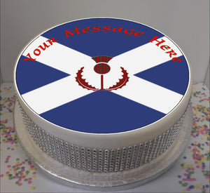 "Personalised Saltire & Thistle Scene 8"" Icing Sheet Cake Topper"
