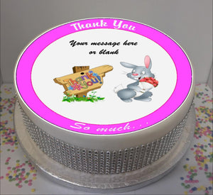 "Personalised Thank You Bunny Scene 8"" Icing Sheet Cake Topper"