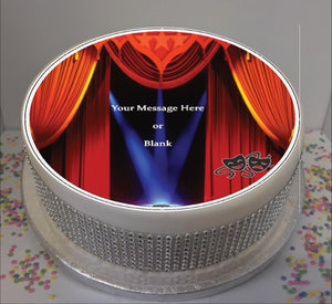 "Personalised Theatre Stage Scene 8"" Icing Sheet Cake Topper"