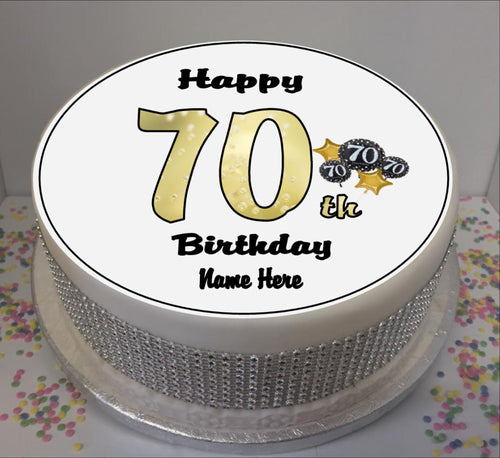 Personalised 70th Birthday Black / Gold 8