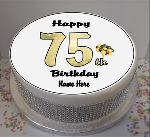 "Personalised 75th Birthday Black / Gold 8"" Icing Sheet Cake Topper"