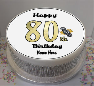 "Personalised 80th Birthday Black / Gold 8"" Icing Sheet Cake Topper"