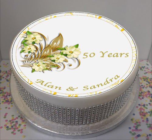 Personalised 50th Wedding Anniversary Flowers - Golden Anniversary  8