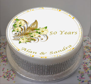 "Personalised 50th Wedding Anniversary Flowers - Golden Anniversary  8"" Icing Sheet Cake Topper"