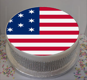 "American Flag 8"" Icing Sheet Cake Topper   Icing sheet cake toppers are a great way to personalise either a homemade or shop bought plain cake"