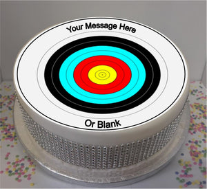 "Personalised Archery Target 8"" Icing Sheet Cake Topper"