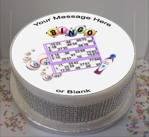 "Personalised Bingo Cards & Dabber Scene 8"" Icing Sheet Cake Topper"
